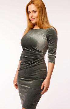 Rochie de catifea verde