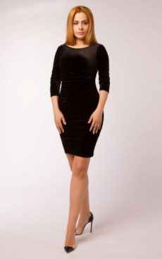 Rochie catifea neagra cu maneca lunga