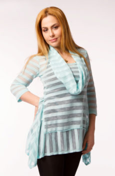Bluza dungi turcoaz